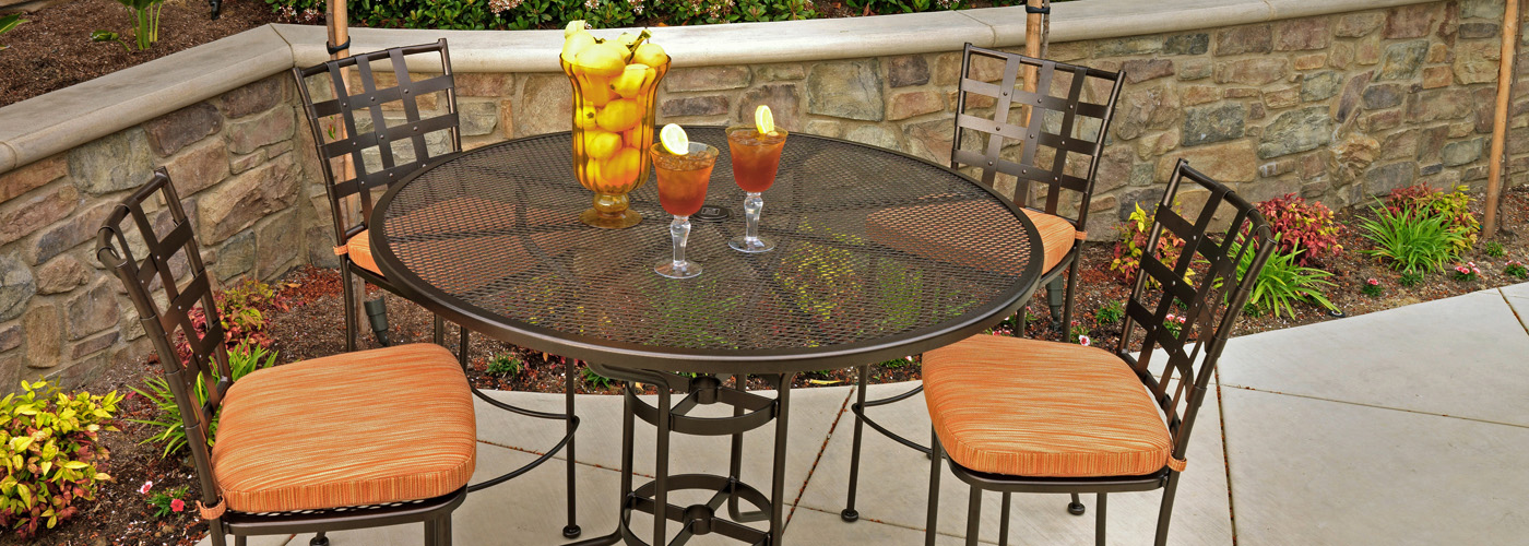 OW Lee Standard Mesh Wrought Iron Tables