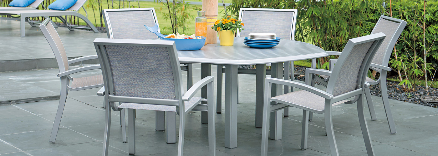 Telescope Casual Aluminum Slat Top Tables