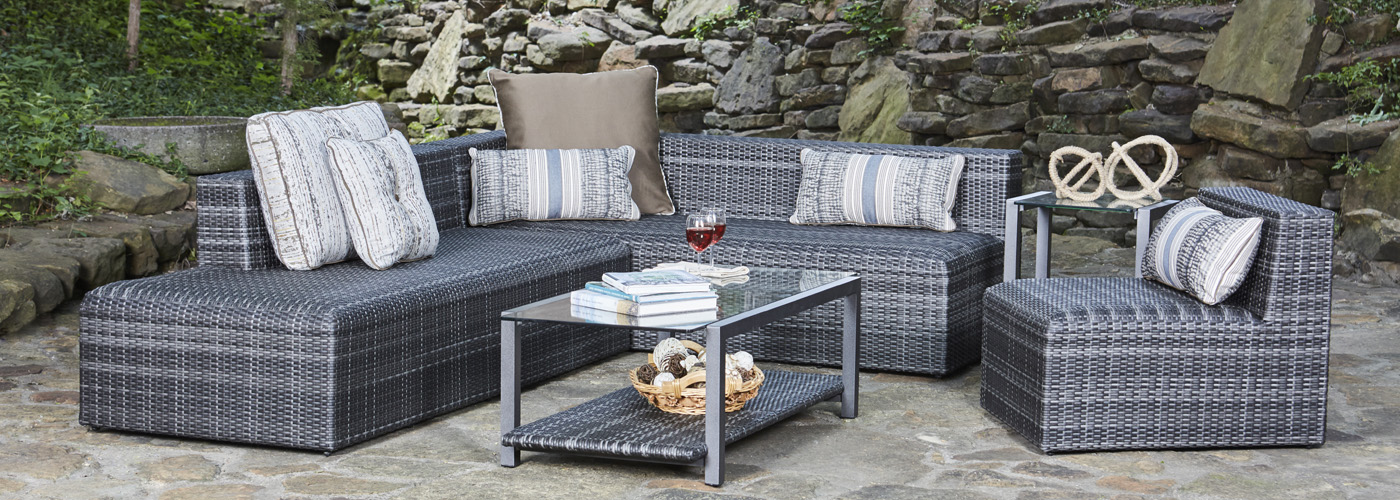 Woodard Canaveral Collection Charcoal Gray Wicker