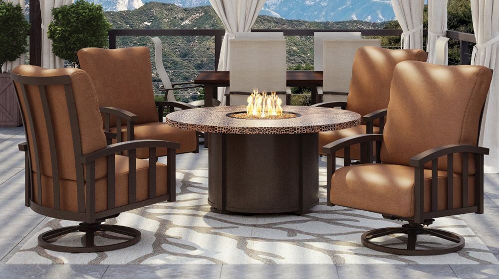 Homecrest Liberty Swivel Rocker With Hammered Metal Fire Table Set