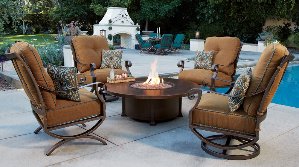 ow lee luna lounge chair fire pit set - Fire Pit Patio Set