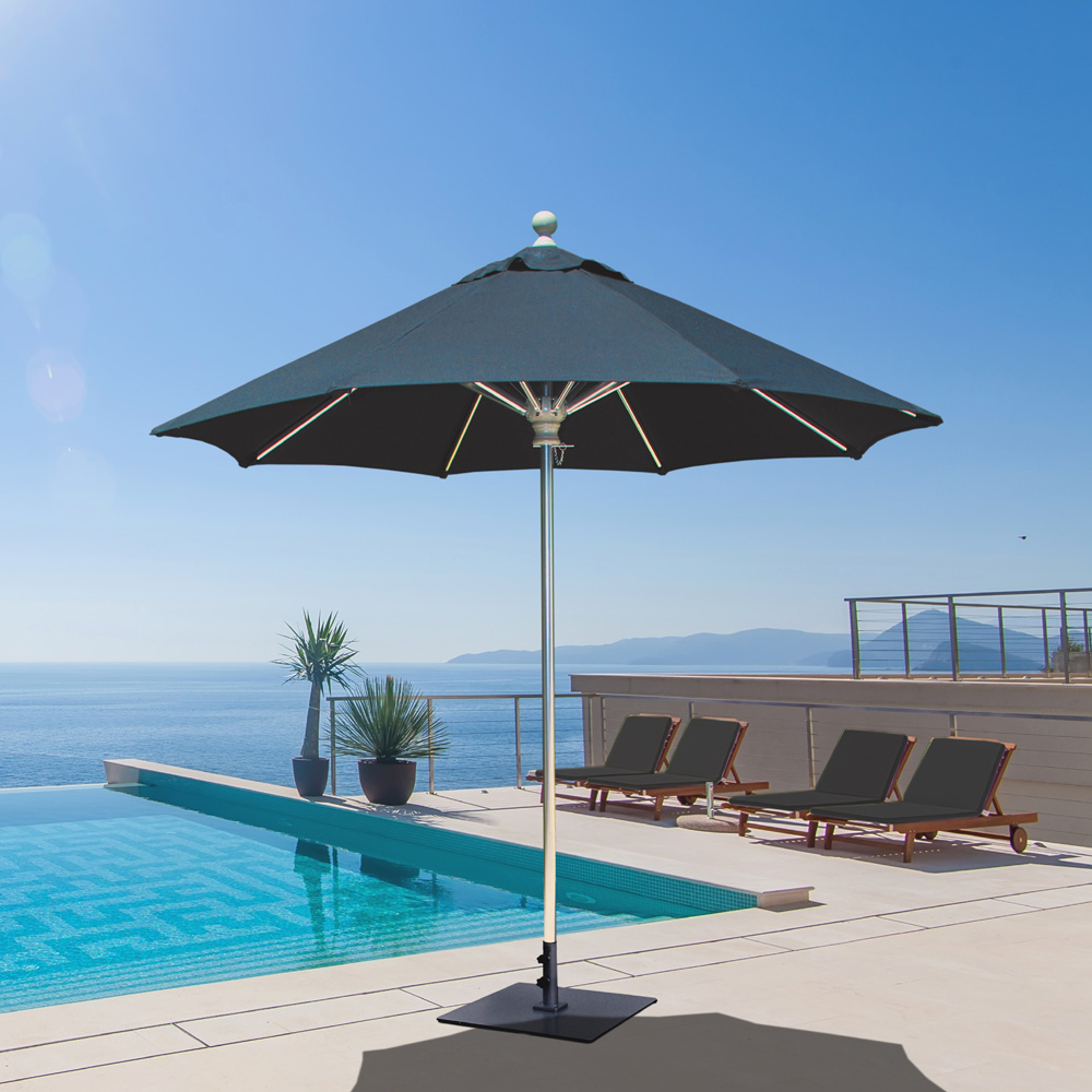 Elegant Galtech Aluminum 7.5 Foot Round Commercial Umbrella With Manual Lift   722