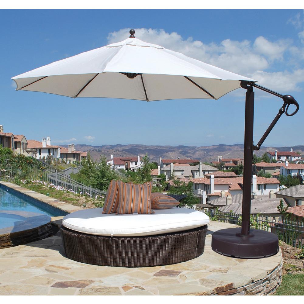 Galtech Aluminum 11 Foot Round Cantilever Umbrella with Easy Lift - 887 - Patio Umbrellas Outdoor Umbrellas
