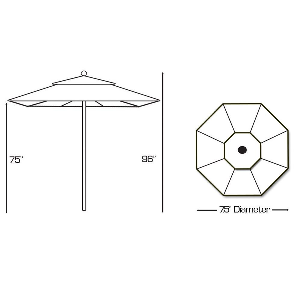 Galtech Aluminum 7.5' Round Commercial Umbrella with