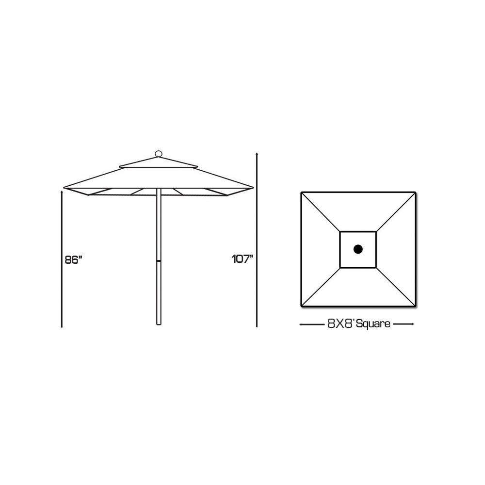 Galtech Aluminum 8' X 8' Square Commercial Umbrella with 4
