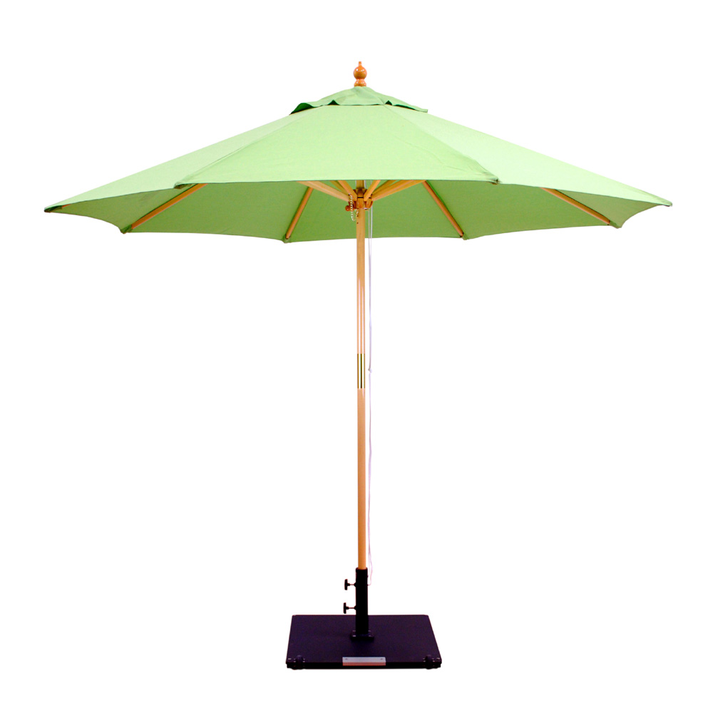 ... Galtech Wood 9 Foot Round Market Umbrella With Double Pulley   132 232  ...