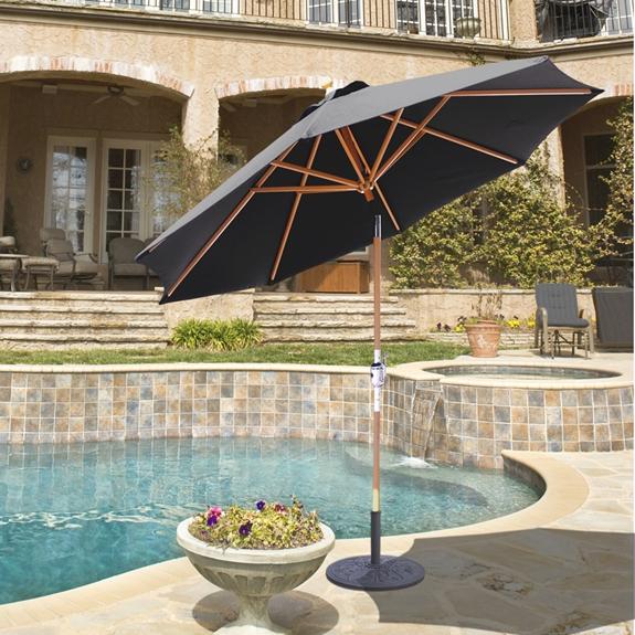 Galtech Wood 9 Foot Octagon Market Umbrella With Crank Lift 139 239