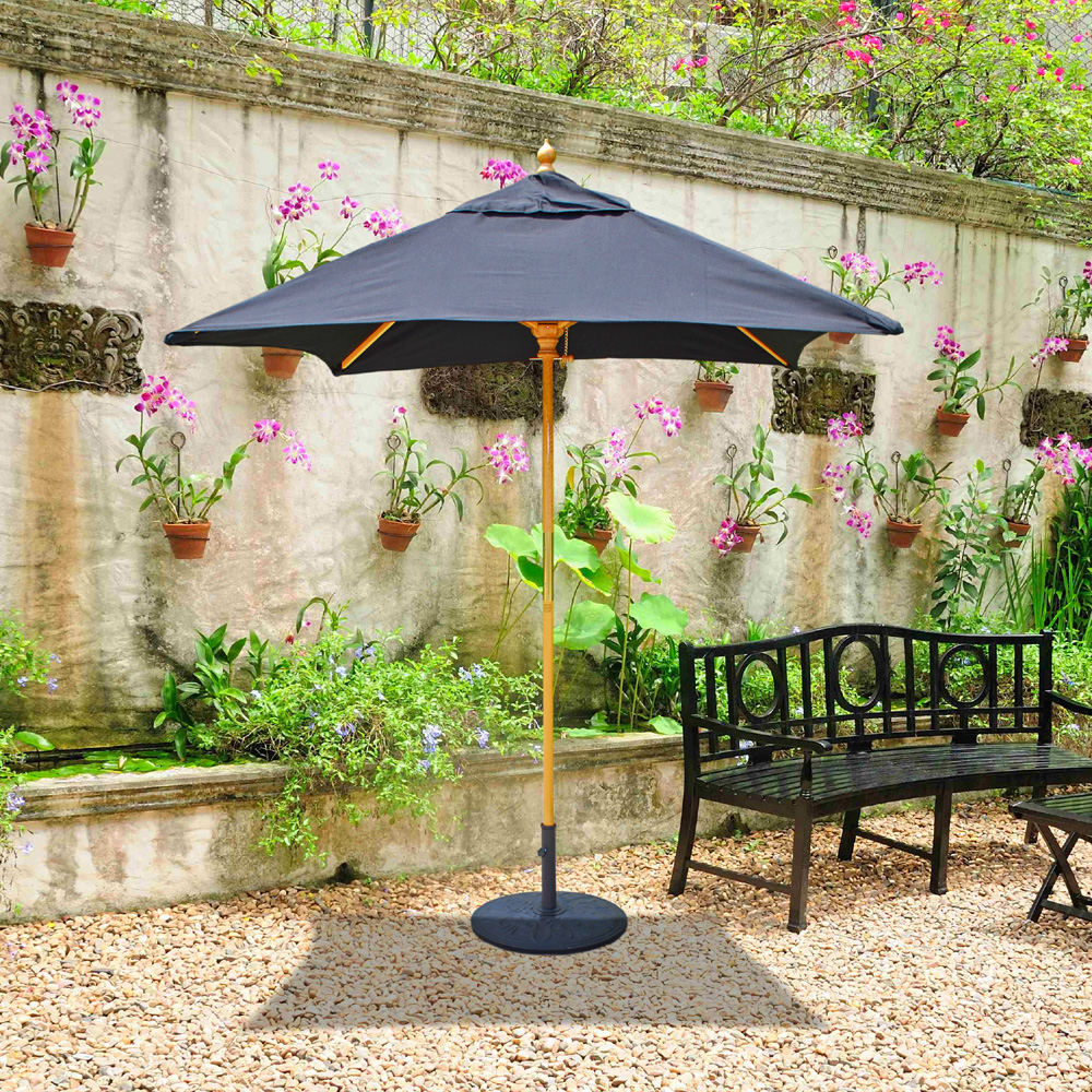 Galtech Wood 6 X 6 Square Cafe And Bistro Umbrella 161