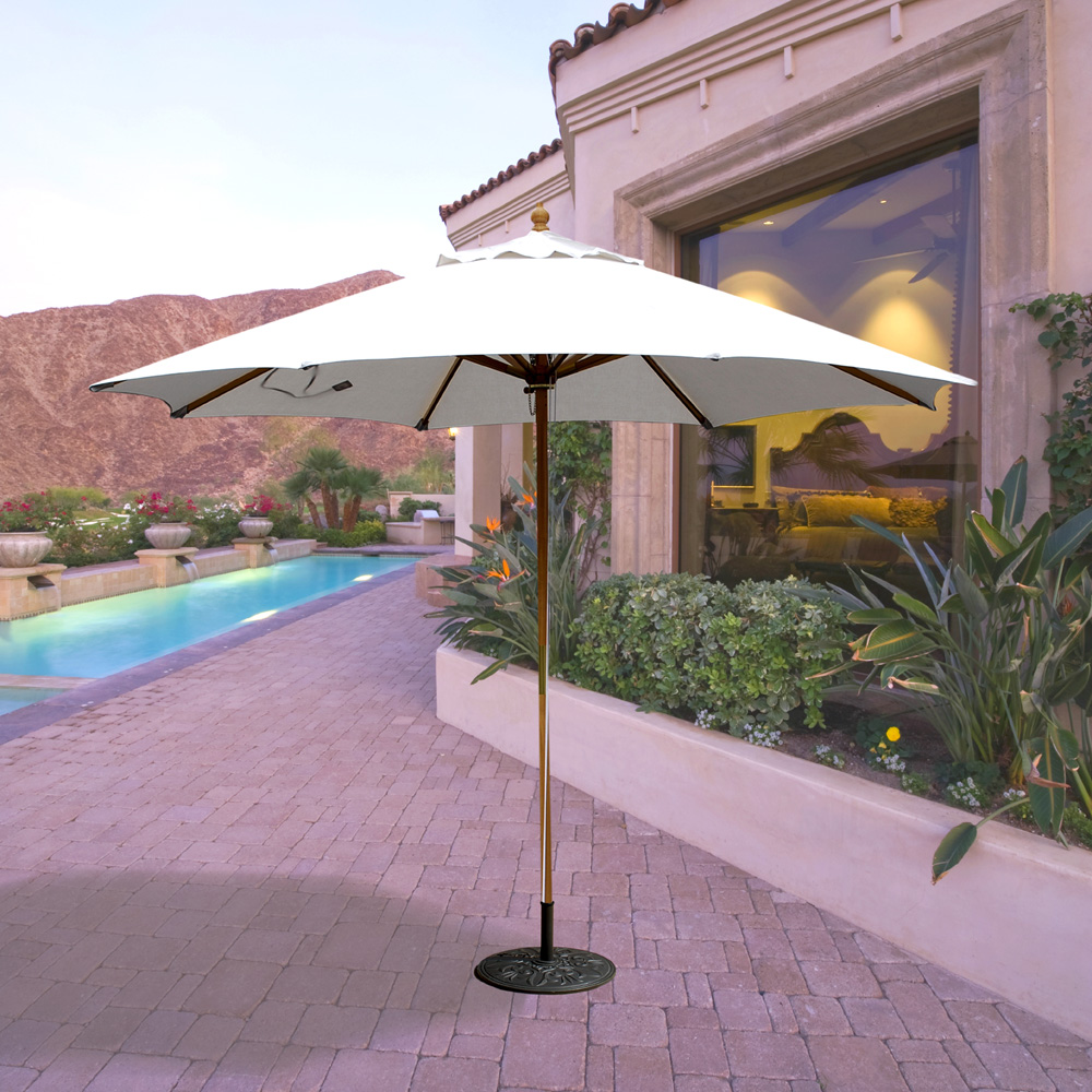 ... Galtech Wood 11 Foot Round Market Umbrella With Quad Pulley   183 ...