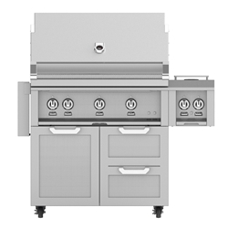 "Outdoor 36"" Grill with Cart and Double Side Burner"