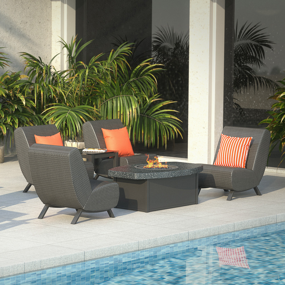 Homecrest Airo2 Fire Pit Patio Set - HC-AIRO2-SET4