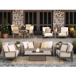 Homecrest Elements Cushion Patio Sofa Fire Pit Set - HC-ELEMENTS-SET3