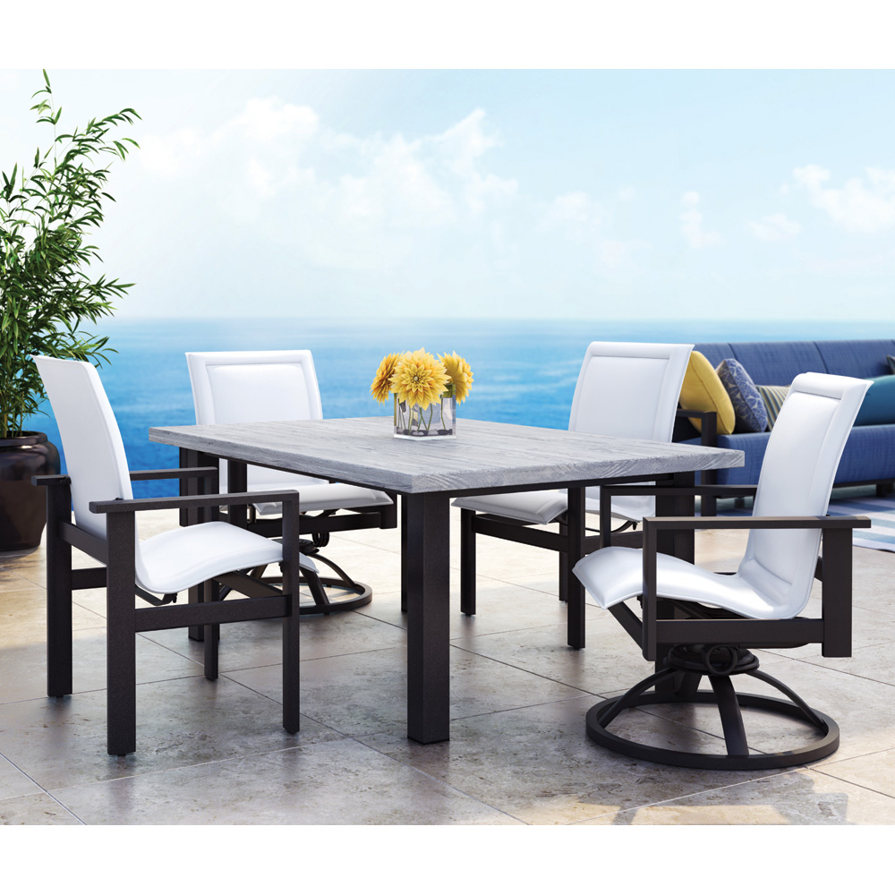 Homecrest Elements Sling Outdoor Dining Set With Timber