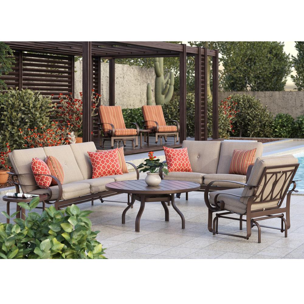 Homecrest Emory Cushion Sofa Glider Patio Set Hc Set1
