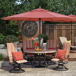 Homecrest Emory Sling High Back Swivel Rocker Outdoor Dining Set with Sandstone Table  - HC-EMORYSLING-SET1
