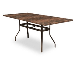 Homecrest Hammered Metal Rectangle Balcony Table with Angled Legs - 384284BMH