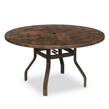 Homecrest Hammered Metal 42 Inch Round Dining Table With Angled Legs