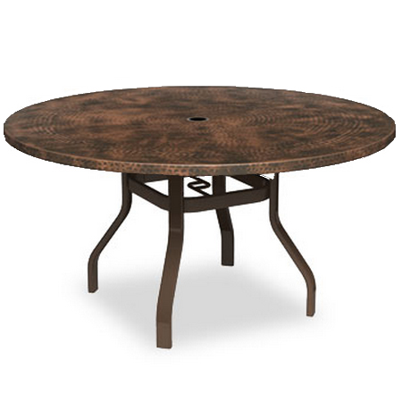 Homecrest Hammered Metal 52 Round Dining Table with Angled Legs