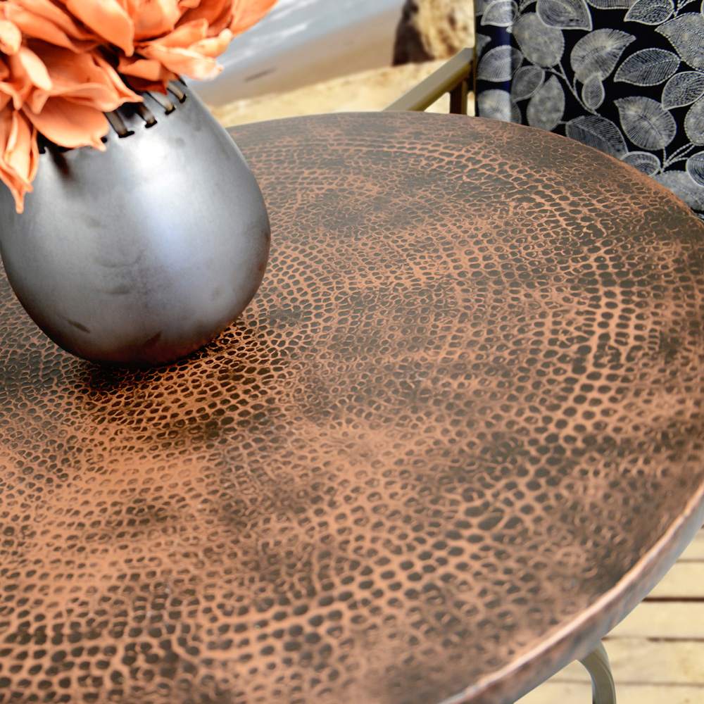 Homecrest Hammered Metal 52 Round Dining Table With Angled Legs 3854rdmh