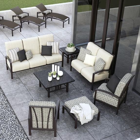 Homecrest havenhill cushion 7 piece patio set hc for Homecrest patio furniture