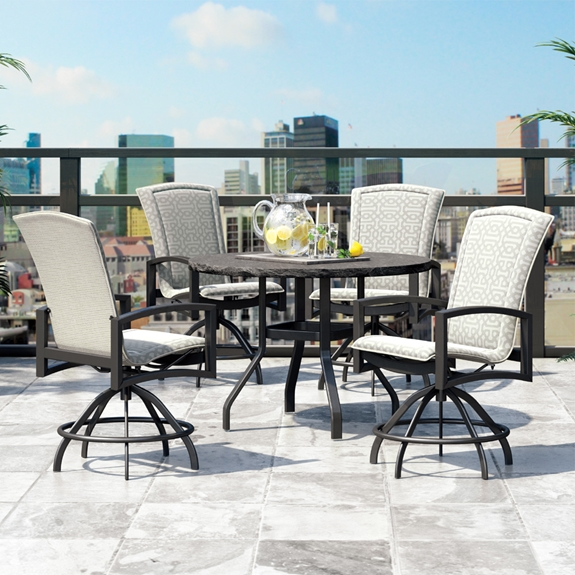 Homecrest Havenhill Balcony Set with Wicker Stools - HC-HAVENHILL-SET7