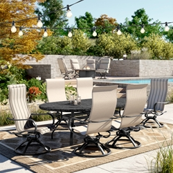 Homecrest Holly Hill Dining Set with High Back Swivel Rockers - HC-HOLLYHILL-SET5