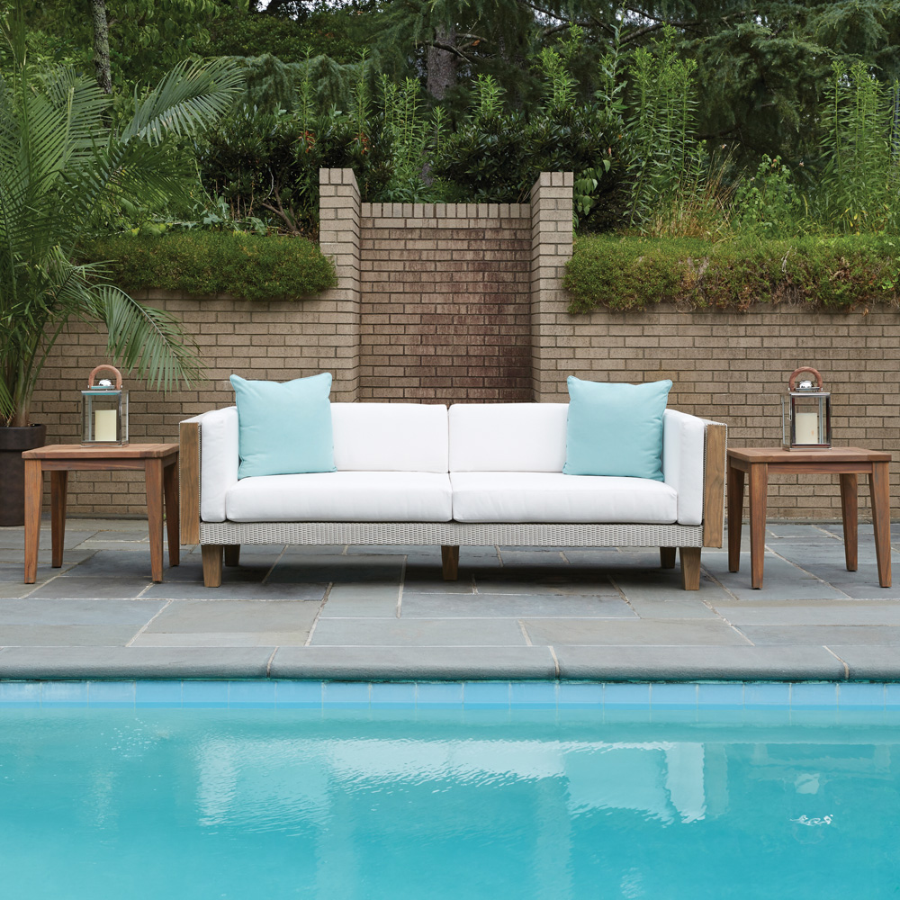 Lloyd Flanders Catalina Sofa and Teak End Table Set - LF-CATALINA-SET5