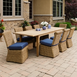 Lloyd Flanders Cayman Wicker and Teak Dining Set for 8 - LF-CAYMAN-SET1