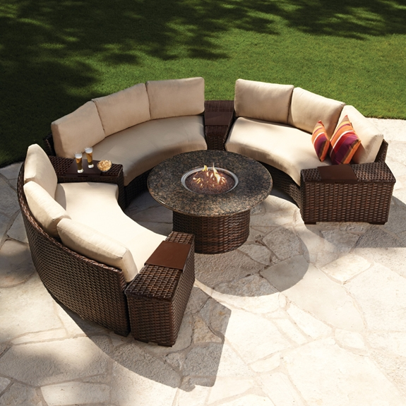 Lloyd Flanders Contempo Curved Sectional Sofa Set - LF-CONTEMPO-SET4 - Fire Pit Outdoor Furniture Sets USA Outdoor Furniture