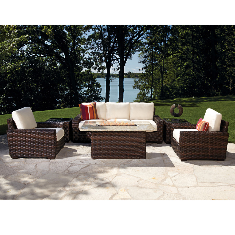 Lloyd flanders contempo vinyl wicker fire pit lounge set for Garden lounge furniture sets