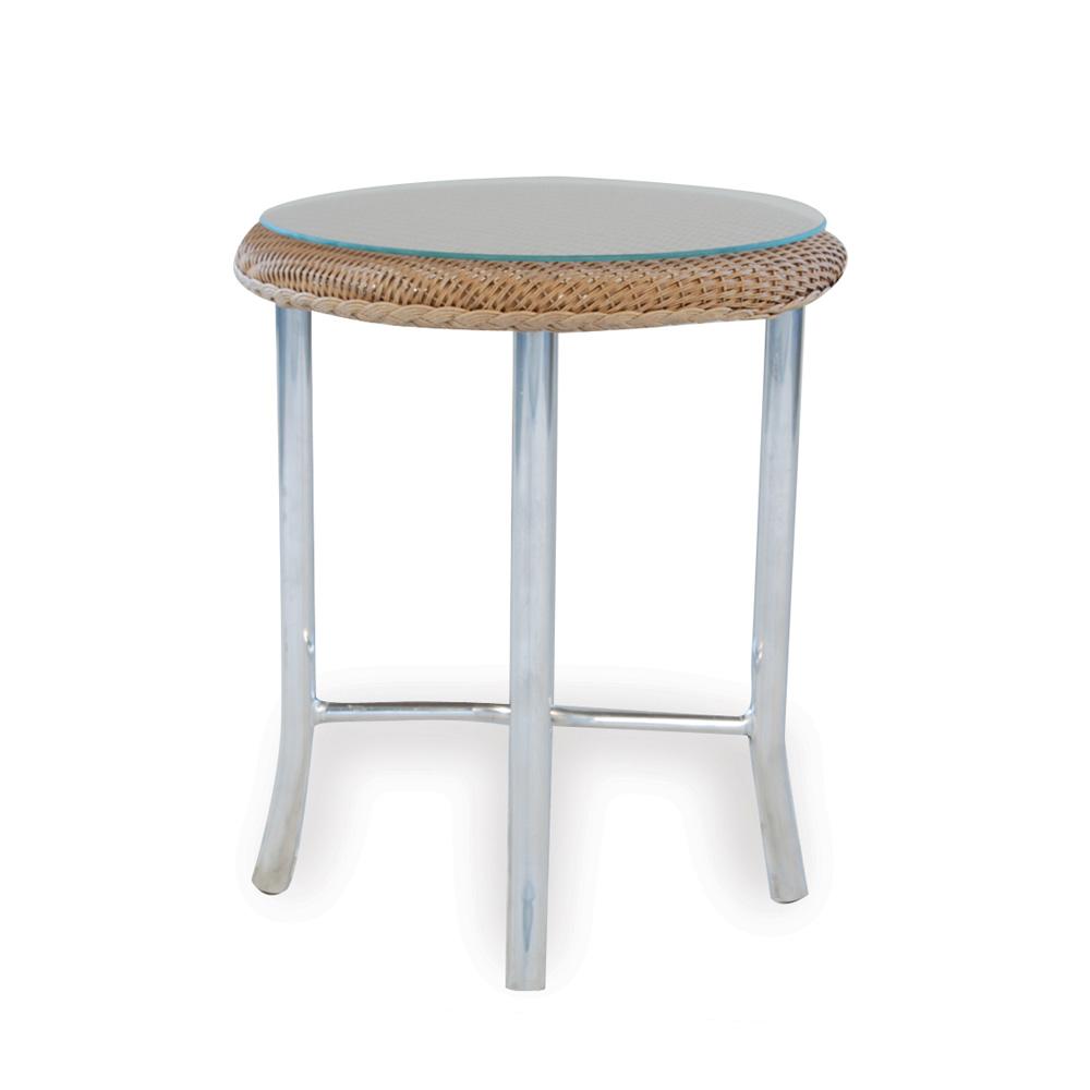 Lloyd Flanders 20 Inch Round End Table W/ Glass Top   86220