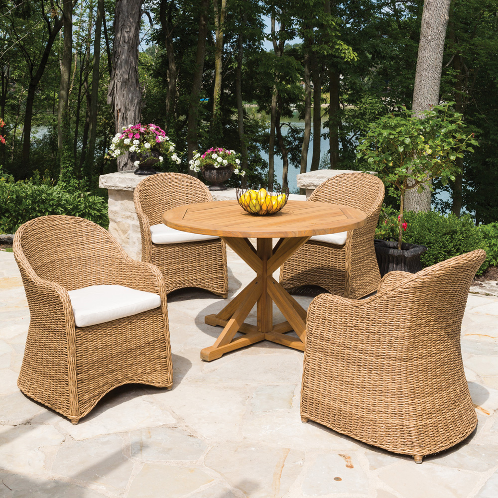 Lloyd Flanders 5 Piece Wicker Dining Set With Hyacinth Chairs Lf Dining Set2