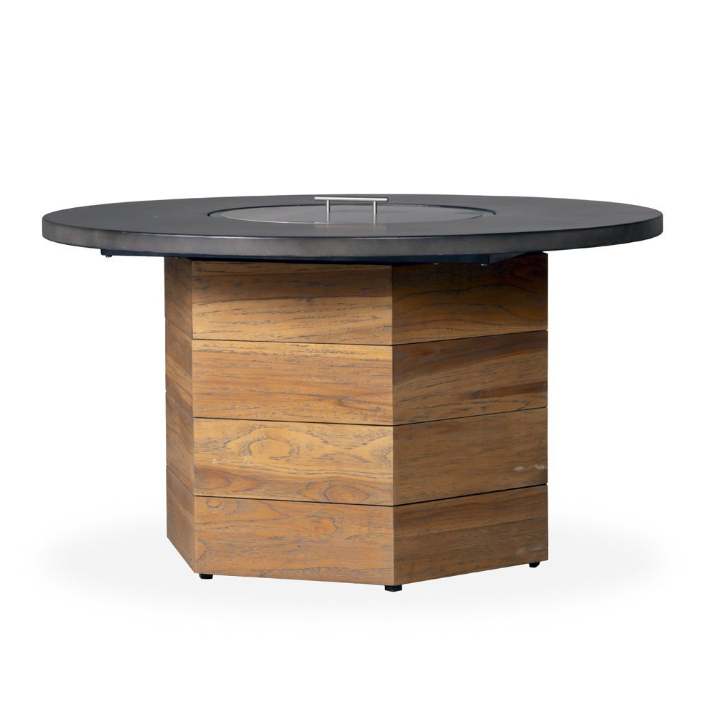 "Lloyd Flanders Teak 48"" Round Fire Table with Faux Concrete Top - 286099"