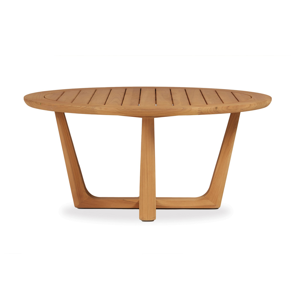 Lloyd Flanders Teak 40 Round Cocktail Table With Sled Base 286144