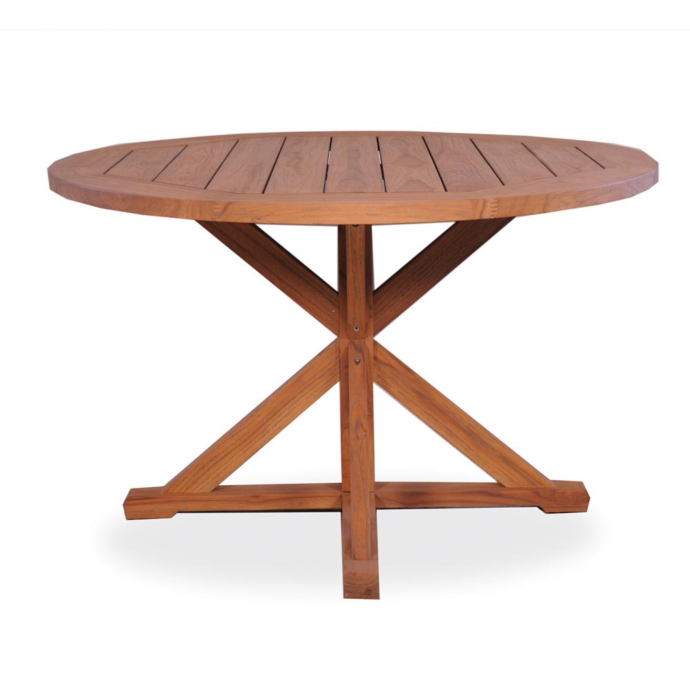 Lloyd Flanders 48 Inch Round Pedestal Base Teak Dining Table   286148