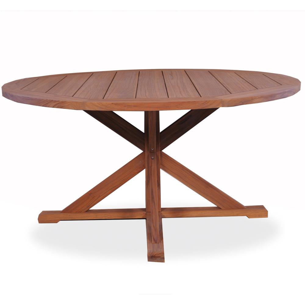 "Lloyd Flanders 60"" round Pedestal Base Teak Dining Table"
