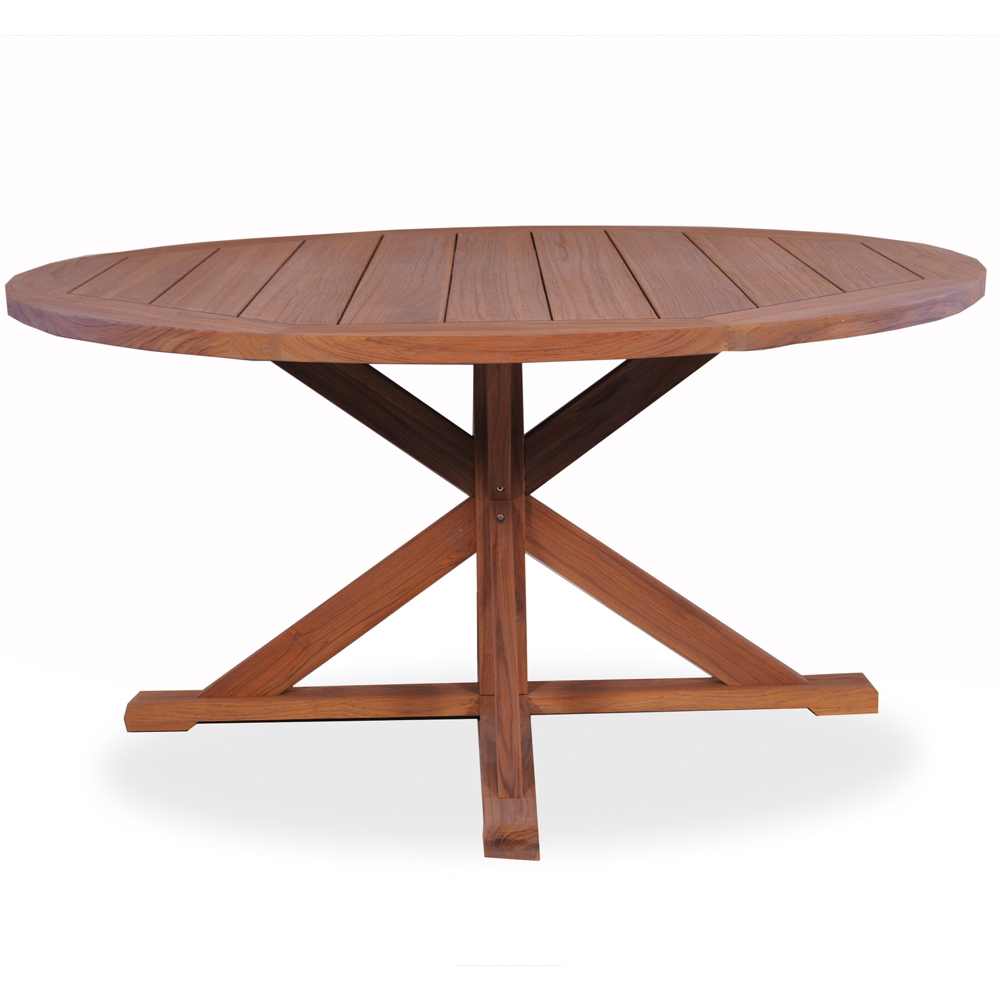 Outdoor dining furniture outdoor dining sets lloyd flanders dining - Lloyd Flanders 60 Round Pedestal Base Teak Dining Table Home Outdoor