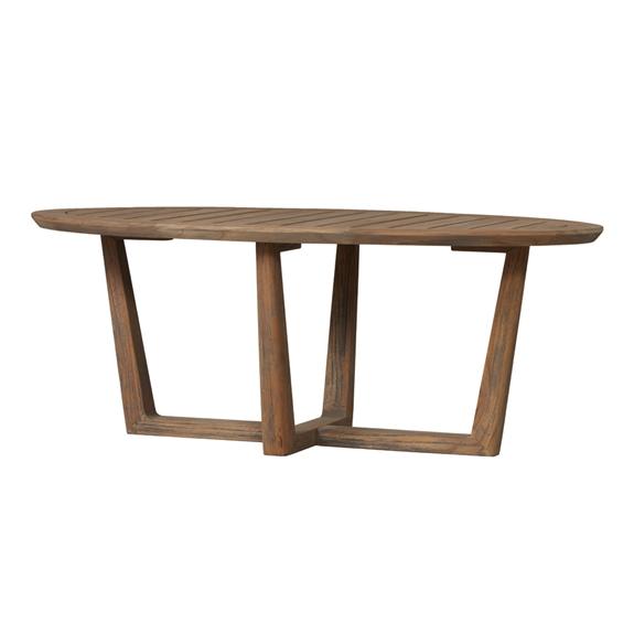 """Teak Oval Coffee Table: Lloyd Flanders Teak 44"""" X 24"""" Oval Cocktail Table"""