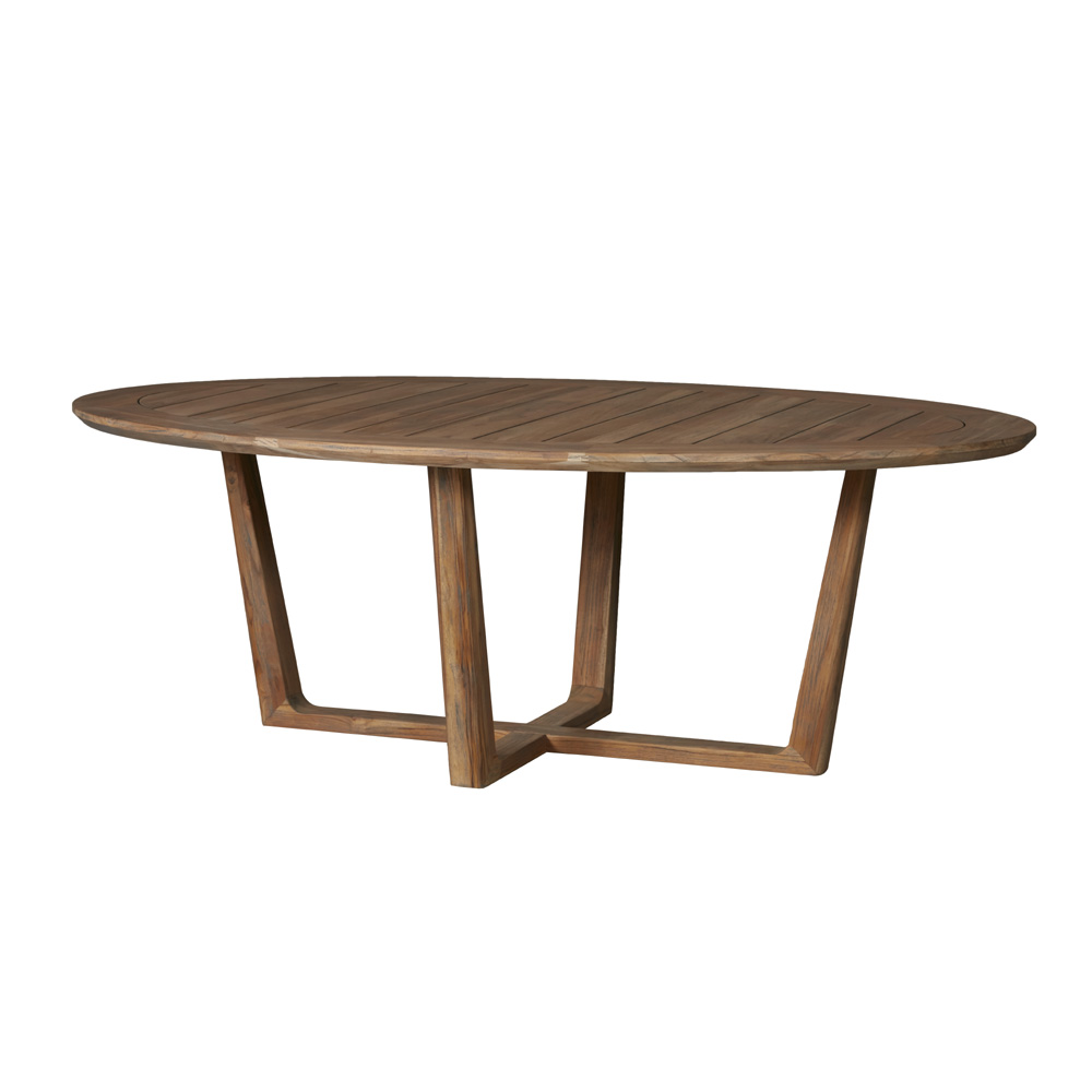 "Lloyd Flanders Teak 84"" x 52"" Oval Dining Table with Sled Base"
