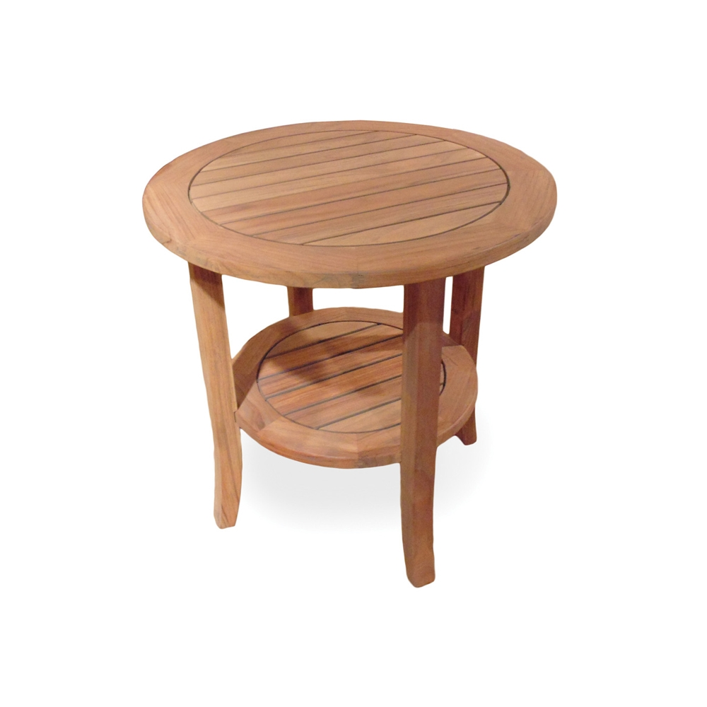 Lloyd Flanders 24 Inch Round Teak Tapered Leg End Table   286424 ...