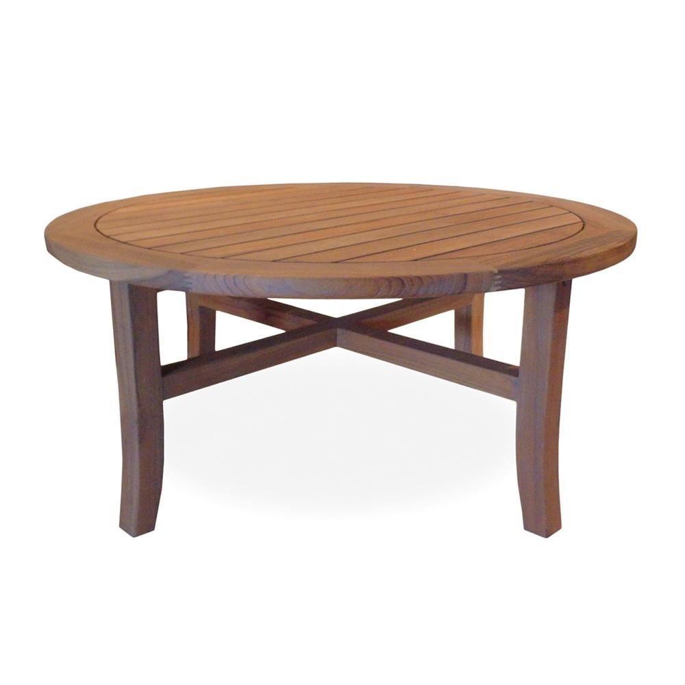 Lloyd Flanders 48 Inch Round Tapered Leg Teak Conversation Table 286441 40
