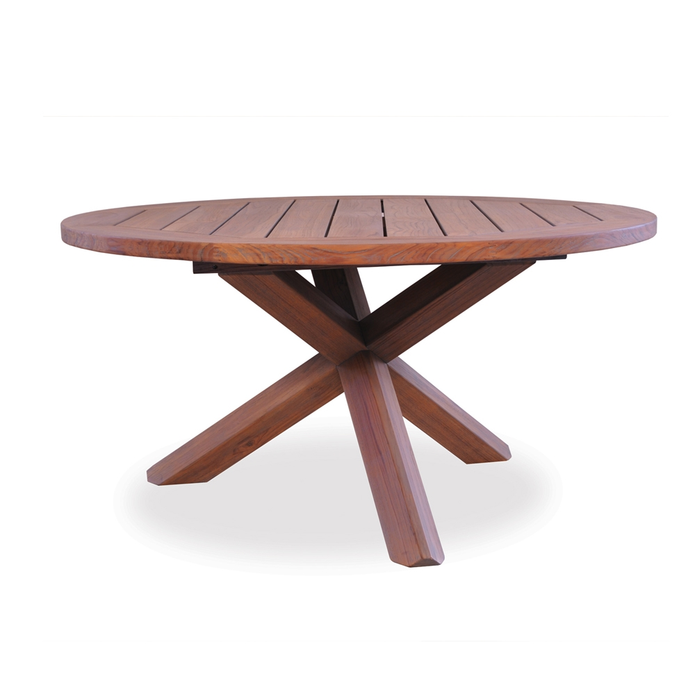 Lloyd Flanders 48 inch round Cross-Base Teak Conversation Table - 286448