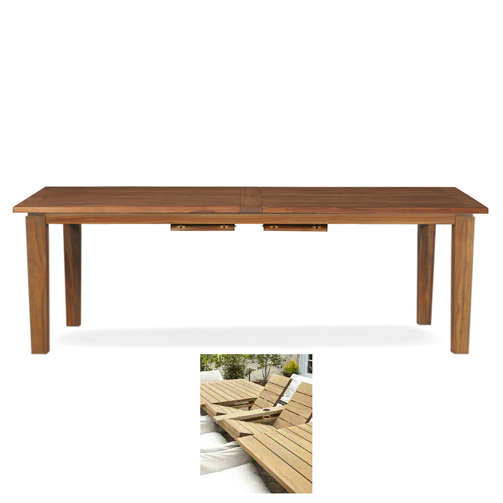 "Lloyd Flanders Teak Double Butterfly Leaf Dining Table - Extends to 110"" - 286584"