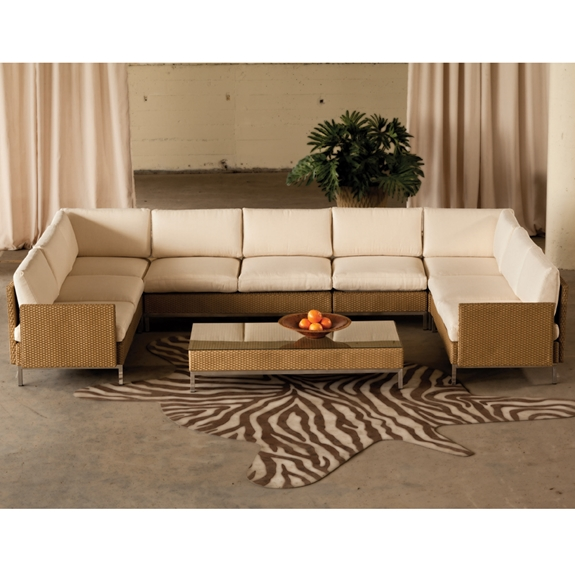 Lloyd Flanders Elements U Shaped Wicker Sectional Set Lf