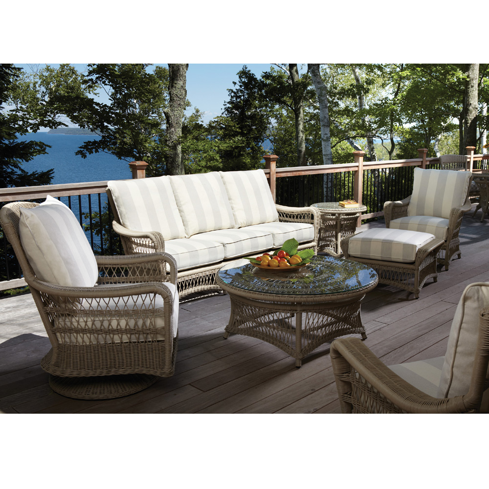 Lloyd Flanders Fairhope Vinyl Wicker Sofa Patio Set - LF-FAIRHOPE-SET3