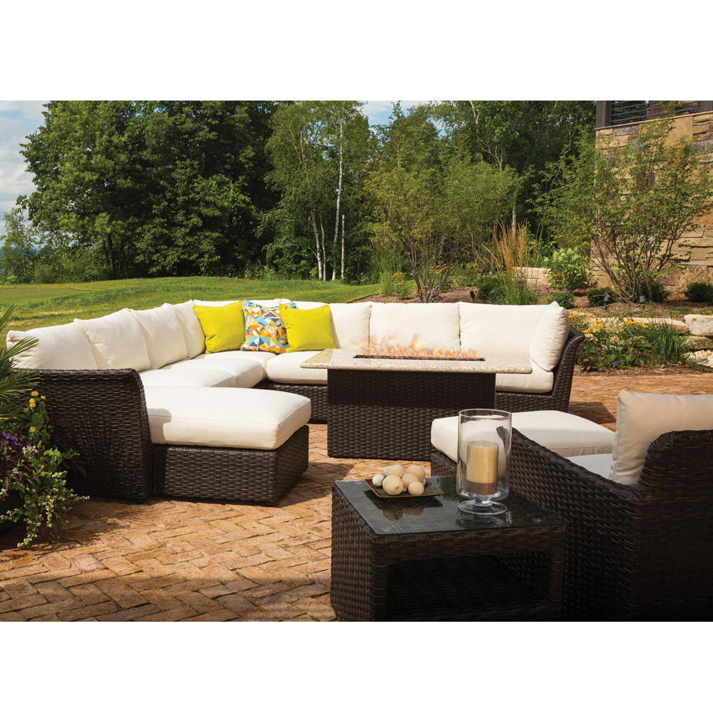 lloyd flanders flair patio sectional set with fire pit table lfflairset4 - Pit Sectional
