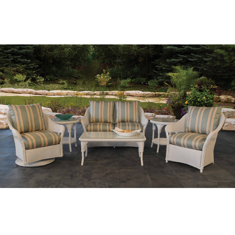 Lloyd Flanders Freeport Wicker 6 Piece Patio Loveseat Set