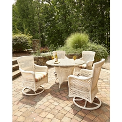 Lloyd Flanders Grand Traverse Dining Set with Stone EcoSmart Fire Table - LF-GRANDTRAVERSE-SET19