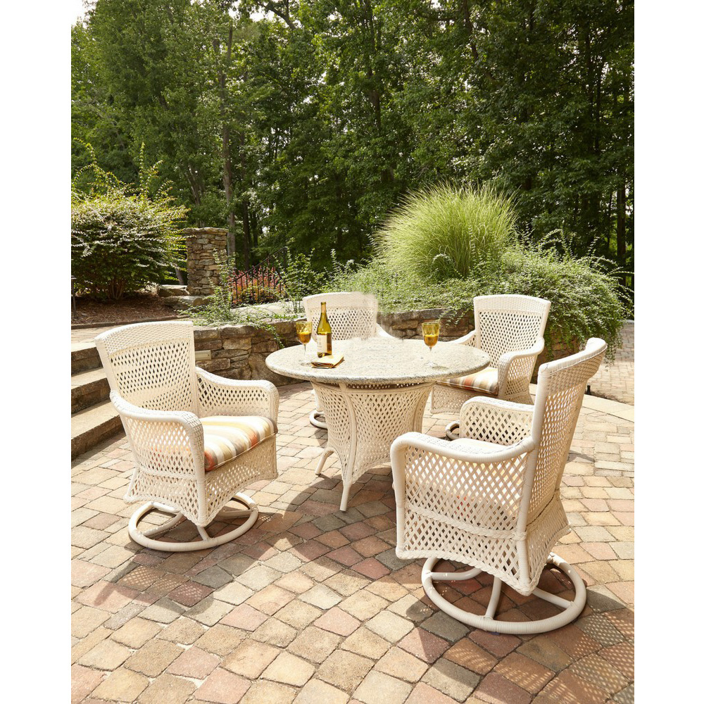 Lloyd flanders grand traverse dining set with stone ecosmart fire table lf grandtraverse