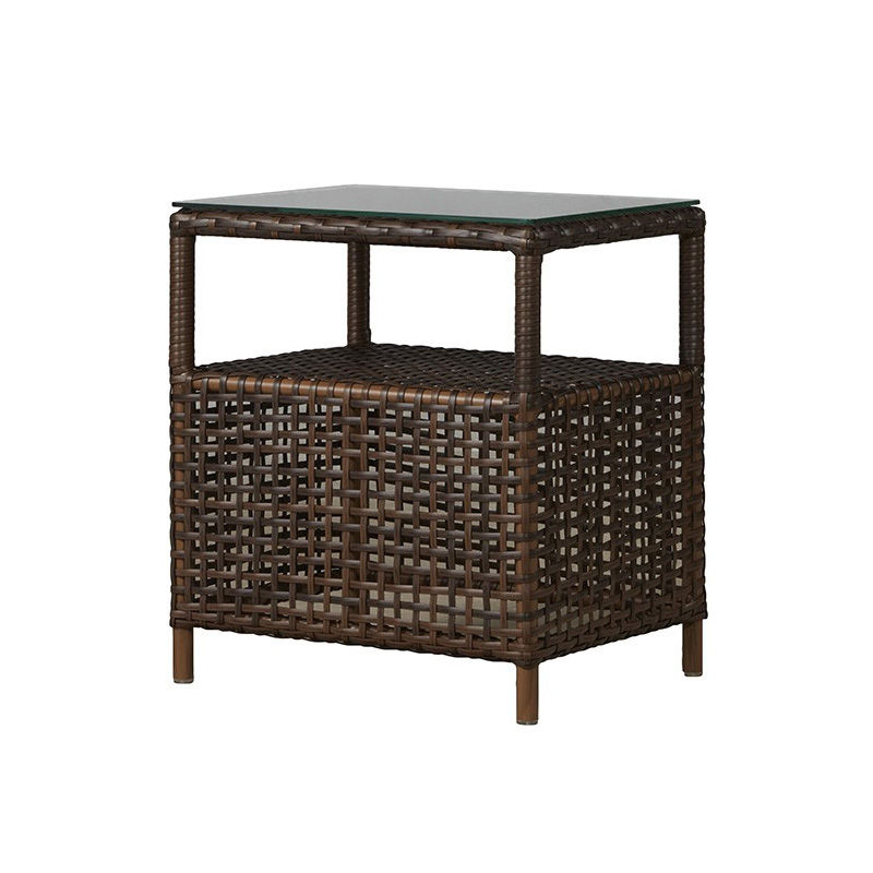 Lloyd Flanders Havana End Table with Lay-on Glass Top - 262043